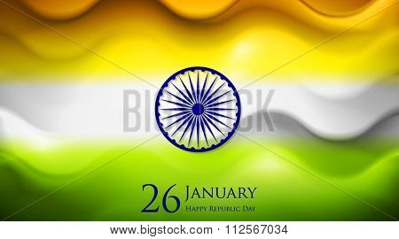 Smooth waves background. Colors of India. Republic Day 26 January vector design