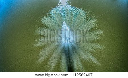 Aerial View Of Water Pond Aeration Fountain