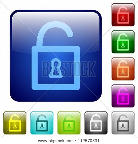 Color Unlocked Padlock Square Buttons