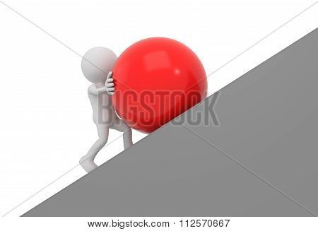 White 3D Human Pushes Sphere Uphill