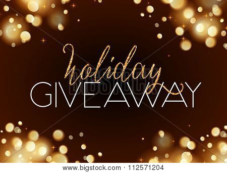 Holiday giveaway card with bokeh effect at dark background
