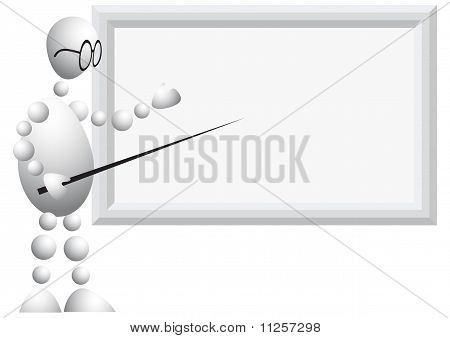 Man As Teacher With Glasses And Pointer