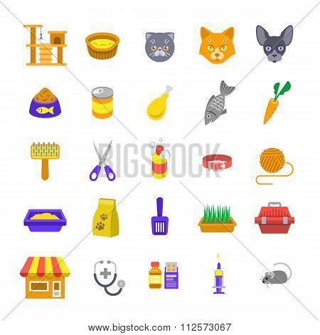 Cat Care Pet Shop Flat Colorful Icons