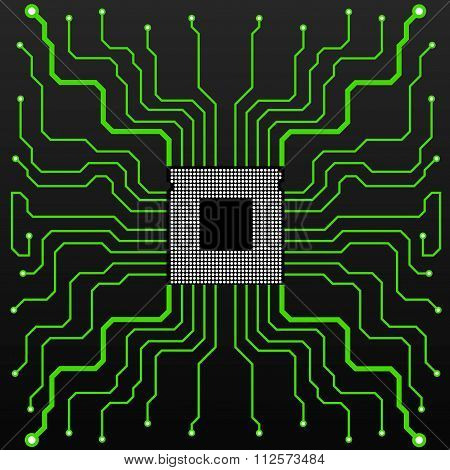 Circuit Board. CPU. Vector illustration. Eps 10