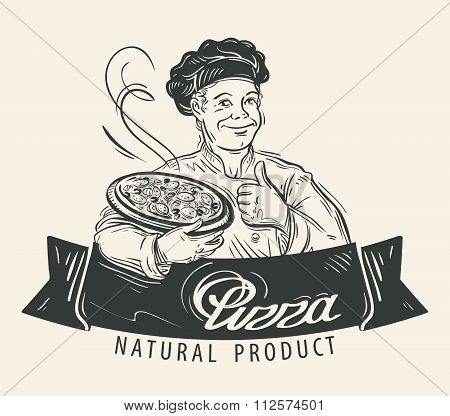 Pizza vector logo design template. Restaurant, food or cook, chef icon