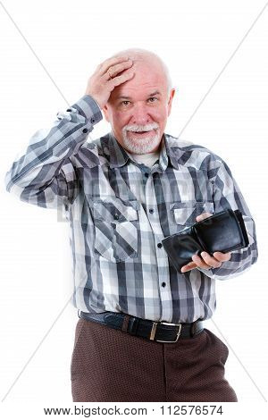 Old senior man is surprised and holding a wallet