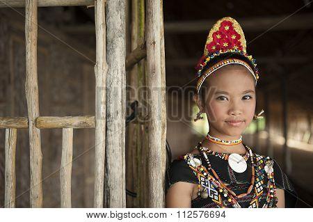Rungus Ethnic Wearing Traditional Costume.