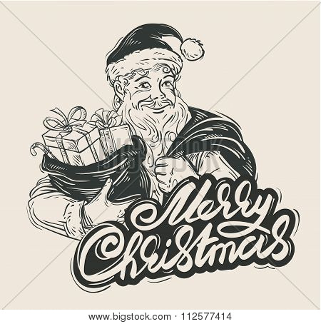 Merry Christmas. Cheerful Santa Claus holding a bag of gifts