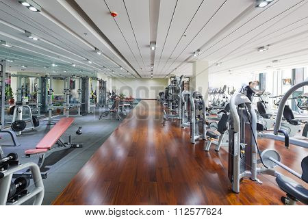 all kinds of fitness apparatus in modern gym
