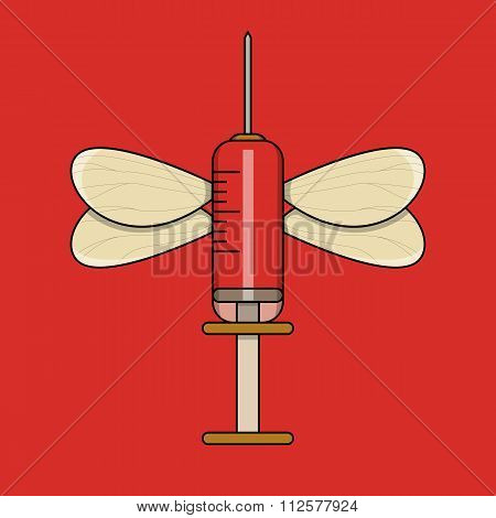 Red injection with mosquito wings