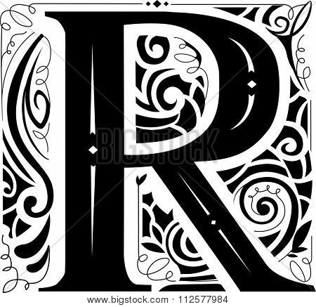 Illustration of a Vintage Monogram Featuring the Letter R