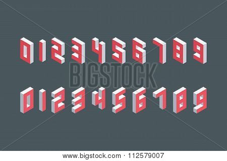 Collection of the isometric numbers. Three-Dimensional elements.