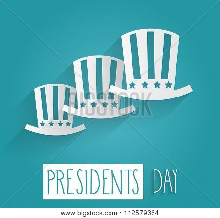 Presidents Day. Handwritten text on blue background
