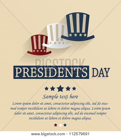 Presidents Day card. Red, white and blue stars