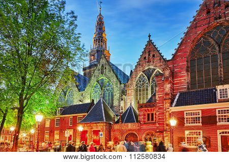 Amsterdam, Netherlands-september 15, 2015: Westerkerk (western Church) With People,night View In Ams