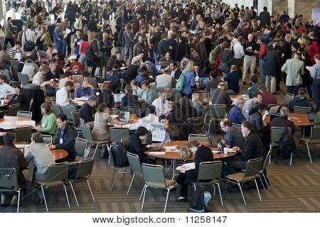 Crowd Of Scientists At Coffee Break