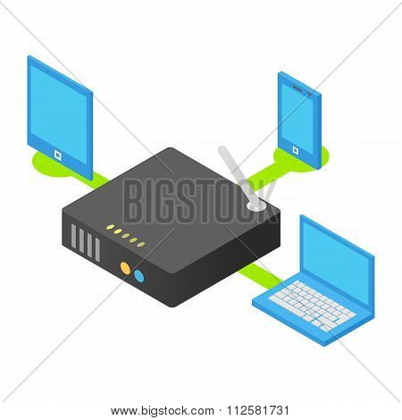 Wireless router isometric 3d icon