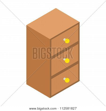 Chest of drawers isometric 3d icon