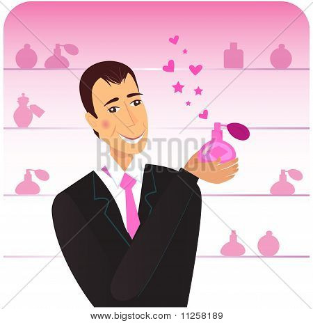 Romance man with perfume flacon in shopping store