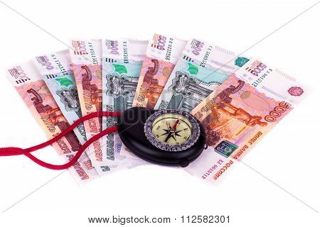 Financial Crisis: A Compass And Money On A White Background