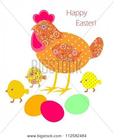 Funny easter applique with hen, painted eggs and chicken