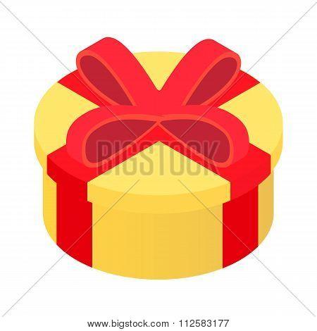 Round gift isometric 3d icon