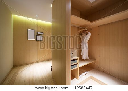 white pajamas and safe in modern washroom