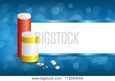 Background abstract blue white medicine tablets red pill plastic yellow bottle packages stripes