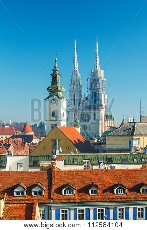 Zagreb cathedral, vertical view