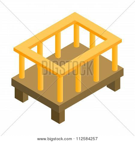 Baby bed isometric 3d icon