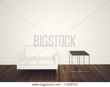 sofa in room 3d rendering