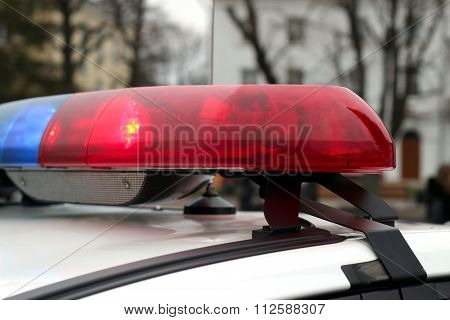 Blue And Red Flashing Sirens Of Police Car, Ukraine