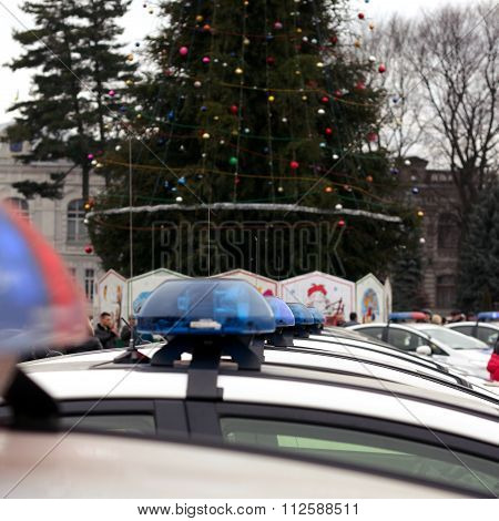 Row Of Police Cars, With Blue And Red Flashing Sirens, Ukraine, Selective Focus