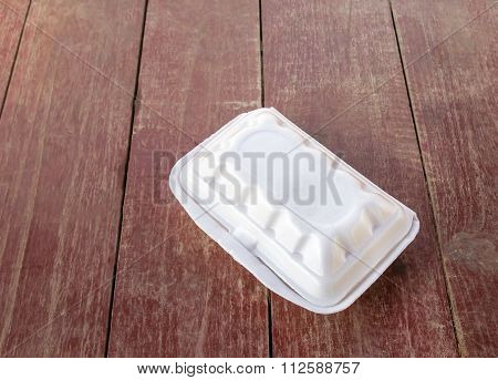 Styrofoam Food Container On Wooden Table