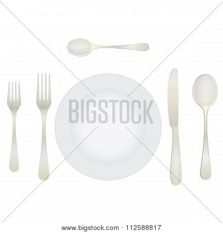 Cutlery And Crockery On The Table.