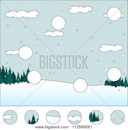 Winter Forest: Complete The Puzzle And Find The Missing Parts Of The Picture. Vector Illustration. G