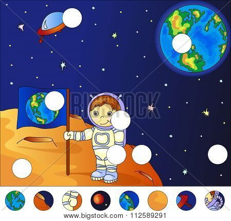 Astronaut With Earth Flag On The Surface Of Moon. Complete The Puzzle And Find The Missing Parts Of