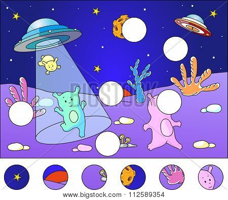 Cute Aliens Landing On The Planet's Surface: Complete The Puzzle And Find The Missing Parts Of The P