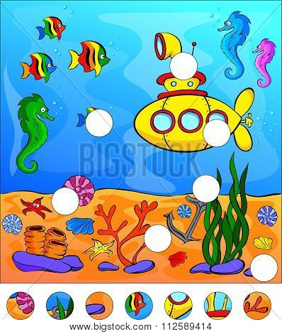 Underwater World And Submarine: Complete The Puzzle And Find The Missing Parts Of The Picture. Vecto