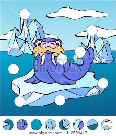 Cartoon Walrus On An Ice Floe. Complete The Puzzle And Find The Missing Parts Of The Picture. Vector