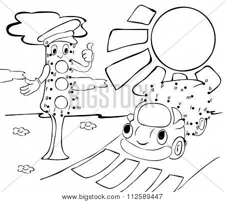 Cartoon Lorry, Traffic Lights And Sun. Vector Illustration. Coloring And Dot To Dot Game For Kids