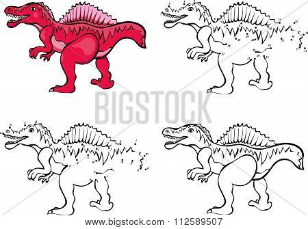 Cartoon Spinosaurus. Vector Illustration. Coloring And Dot To Dot Game For Kids