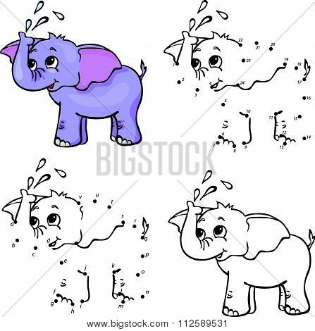 Cartoon Elephant. Vector Illustration. Coloring And Dot To Dot Game For Kids