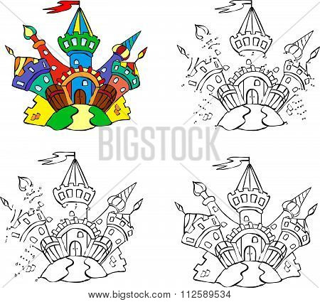Cartoon Fairytale Castle. Vector Illustration. Coloring And Dot To Dot Game For Kids