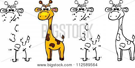 Cartoon Giraffe. Vector Illustration. Coloring And Dot To Dot Game For Kids