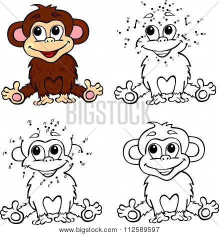 Cartoon Monkey. Vector Illustration. Coloring And Dot To Dot Game For Kids