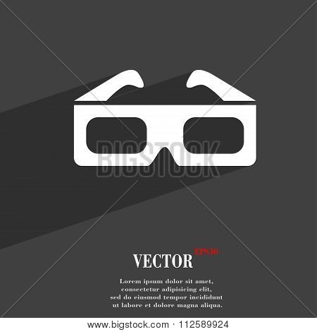 3D Glasses Symbol Flat Modern Web Design With Long Shadow And Space For Your Text.
