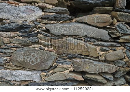 Old Schist Wall With Dates From 19Th Century