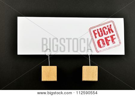 Fuck Off One Big Paper Note On Black For Presentation