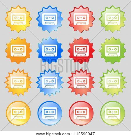 Audiocassette Icon Sign. Big Set Of 16 Colorful Modern Buttons For Your Design.